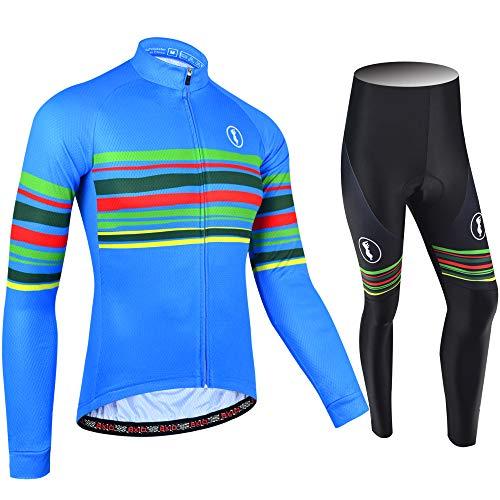 BXIO Jersey de Ciclismo de Invierno de Manga Larga Ropa de la Bici de la Cremallera Completa Ropa de Ciclismo Pro Equipo de Ciclismo Trajes 151 (Summer Type(Long Jerseys and Pants), 3XL)