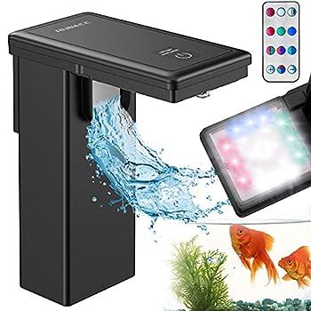 RUNACC Aquarium Light with Aquarium Filter - Full Spectrum LED Aquarium Plant Light 2-in-1 Natural Light 4 Modes & 4 Colors Fish Tank Light with Remote for Fish Tank | Aquariums | Aquarium Plant