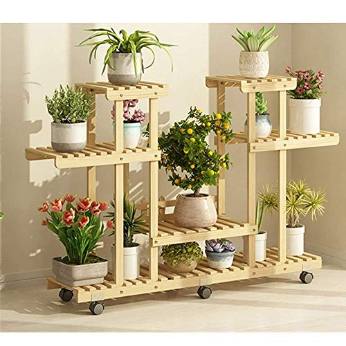 Soporte para flores de madera con rueda desmontable de 4 capas, soporte para plantas y plantas de exposición, soporte para macetas, almacenamiento para interiores y exteriores, ideal para el hogar, jardín