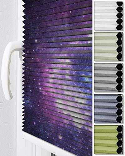 Home-Vision® Premium Doppelplissee Wabenplissee ohne Bohren mit Klemmträger / -fix (Weiß-Galaxis, B80cm x H120cm) Zweifarbig Blickdicht Sonnenschutz Jalousie für Fenster & Tür