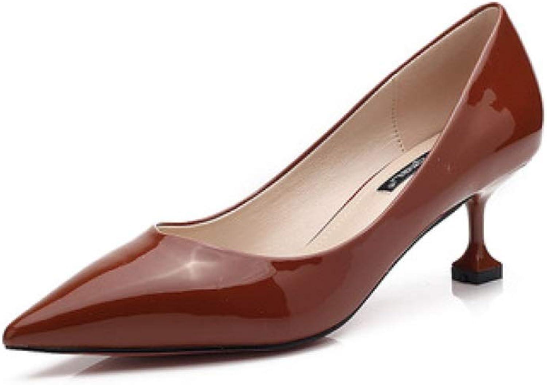 MKJYDM High Heels Women's Fashion Casual Elegant Sexy Work shoes High Heels High Heels 3.5CM 4 colors Women's high Heels (color   Brown, Size   EU36 UK4 CN36)