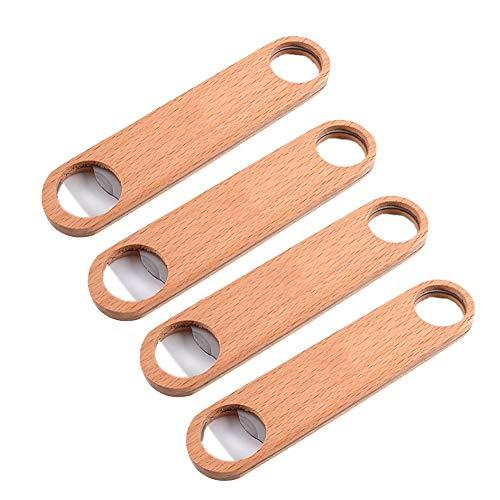 OVBBESS Abrebotellas de madera de 4 piezas, mango estándar, abrebotellas y abridor de botellas de cerveza de madera hecho a mano