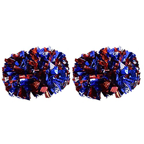 2 Stück Cheerleading Pompoms Shank Cheerleader Pompons, Aerobic Cheerleading Pompons Metallic für Tanzparty Schule Sport Wettbewerb 100g Breite Seidenhandblume Cheerleading für Cheer, Tanzen Team