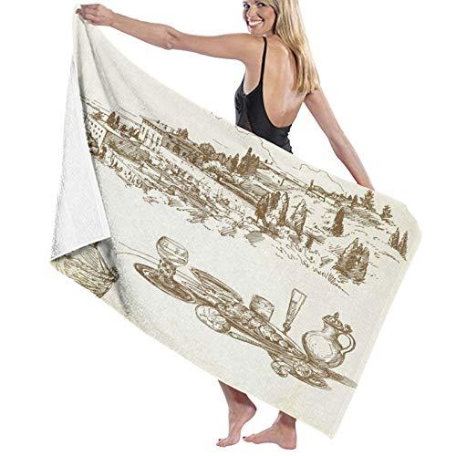 Cute Doormat Badvorleger, Motiv: Italienischer Weinberg, Toskana, Vintage-Stil, Plüsch, Badezimmerdekoration, Matten mit rutschfester Unterseite, 60 x 40 cm