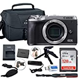 Canon EOS M6 Mark II Mirrorless Digital Camera (Silver) Body Only + Canon Shoulder Bag + 128GB Sandisk Memory Card + Grip Steady Tripod + Grip Strap + & More.