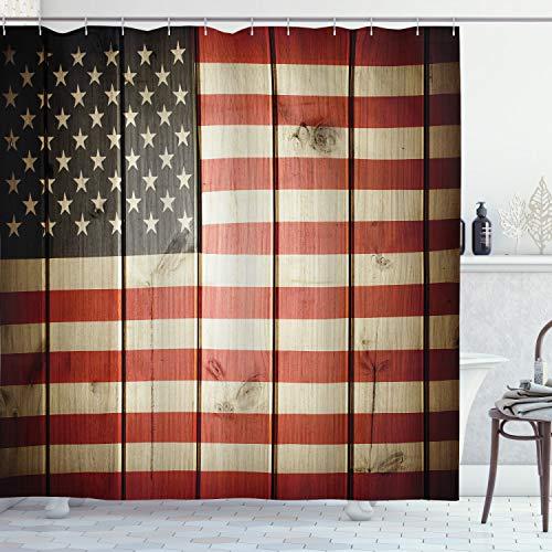 ABAKUHAUS Amerikanische Flagge Duschvorhang, Holz Design Flagge, Wasser Blickdicht inkl.12 Ringe Langhaltig Bakterie & Schimmel Resistent, 175 x 200 cm, Blau Rot