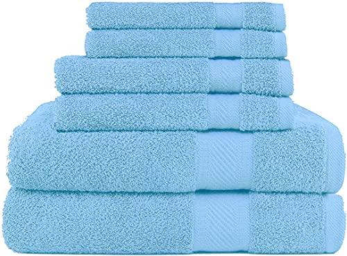 SweetNeedle 6er-Satz Handtücher von 500 g/m² zum täglichen Gebrauch, 2 Badetücher, 2 Handtücher, 2 Waschlappen, ringgesponnene Baumwolle, sehr saugfähig für die Pflege von Bad, Dusche Küche-Hellblau