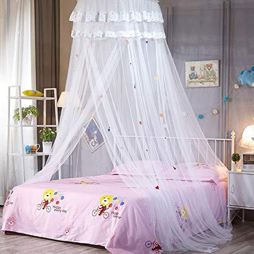 MSYL Niños Anti-Mosquitos para Dormir con Dosel Elevado Dulce Domo Redondo Dormitorio Ropa de Cama de Malla de Encaje Verano Colgante de Dibujos Animados Cama Net-White