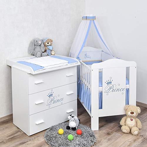 Baby Delux Babyzimmer Komplettzimmer Set Babybett Kinderbett Kommode weiß Bettset Prince