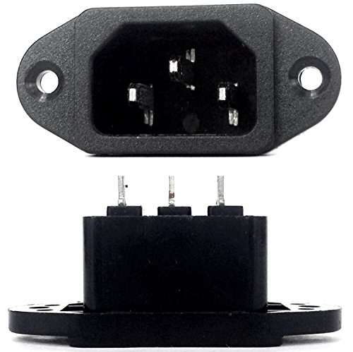 CESS Screw Mount AC Power Inlet with Solder Tabs,Socket Type, (LW) (2 PACK)