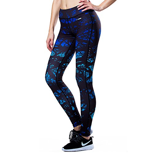 Eco-daily Women's Running Pants Leggings for Yoga, Gym Tights, Black/Blue, Large
