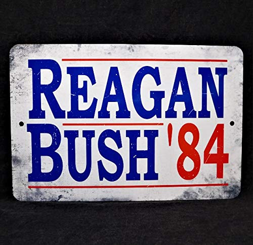 Lplpol Aluminum Sign, Ronald Reagan - George H Bush President Campaign Poster Replica 1984 Presidential Vintage Replica Political United States Metal Sign, Decoration Sign, 12x18 Inch