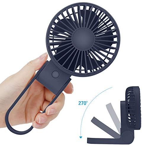 TriPole Mini Handheld Fan USB Portable Fans Rechargeable Battery Operated Foldable Desk Fan 3 Speed Hanging Personal Fan for Home Office Indoor Use Outdoor Travel,Deep Blue