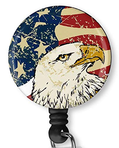 American Flag with Eagle Retractable Badge Reel with Alligator Clip,Name Nurse ID Card Badge Holder Reel, Decorative Custom Badge Holder