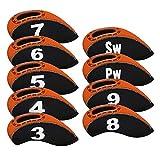 Craftsman Golfschläger-Set aus Neopren mit großer Nummer für alle Marken Callaway, Ping, Taylormade, Cobra etc., Orange / Schwarz