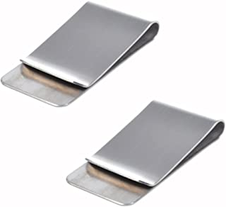 CJESLNA Pack of 2 Silver Stainless Steel Slim Money Clip