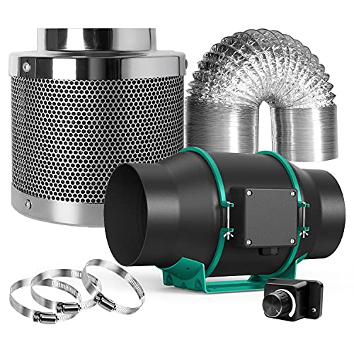 MARS HYDRO 6' Inline Fan Carbon Filter Combo- 6' Inline Fan with Speed Controller,6 Inch Carbon Filter, 33 Feet Ducting and 3 Clamps Ventilation System Ventilation System Grow Tent Exhaust Fan Kit