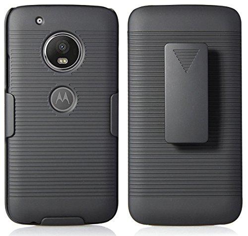 Moto G5 Plus Belt Clip Case, NAKEDCELLPHONE Black Rubberized Ribbed Hard CASE Cover + Belt Clip Holster Stand for Motorola Moto G5 Plus, XT1687, Moto G5+