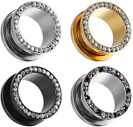 COOEAR Ear Tunnels Flesh Plugs Piercing Expander Stretchers Earrings Steel Gem Women Jewelry product image