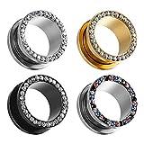 Coear, dilatatori per orecchio, dilatatori e dilatatori, in acciaio, con gemme da 8 g (3 mm) a 16 mm e Acciaio inossidabile, colore: #1 0 g (8 mm), cod. AS8249G-8