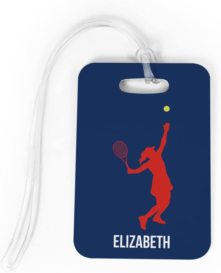 Personalized Girl Tennis Player Tennis Luggage /& Bag Tag LARGE Standard Lines on Back BLACK//GRAY