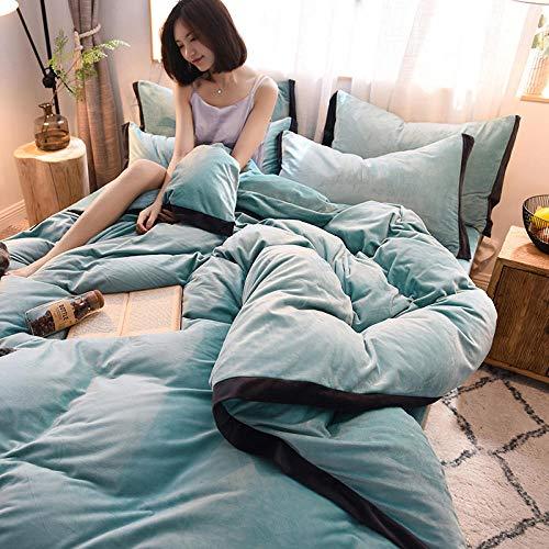Funda nordica franela,2020 nuevo, grueso y cálido, ropa de cama de franela de terciopelo de cristal súper suave, color sólido, traje de cuatro piezas de terciopelo para bebés-Azul eléctrico_2.0 cama