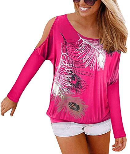 Langarmshirt Damen Off Shoulder Bluse Damen Feder Druck Schulterfrei T-Shirt Oberteil Casual Shirt Tops