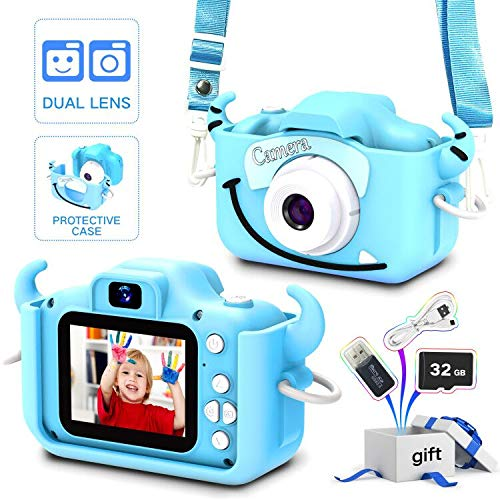Goopow Kids Camera Toys for 3-8 Year Old Boys,Children Digital Video Camcorder Camera with Cartoon Soft Silicone Cover, Best Chritmas Birthday Festival Gift for Kids - 32G SD Card Included(Light Blue)