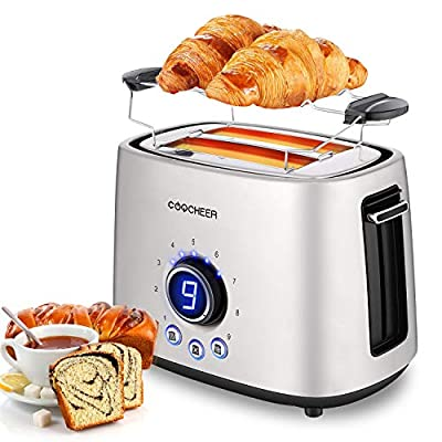 Toaster 2 Slice, COOCHEER Stainless Steel Toaster with LCD Display Compact with 9 Shade Settings, Toaster for Bagels and Bread with Defrost/Reheat/Cancel Function, Warming Rack Removable Crumb Tray