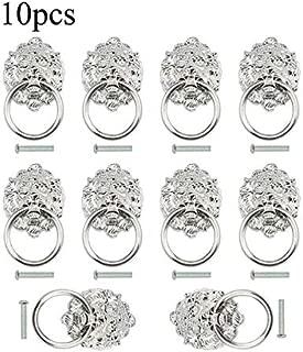 TOVOT 10 pcs Dresser Drawer Cabinet Door Ring Head Pulls Antique Lion Head Pulls Knob (Silver)