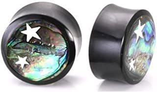 Elementals Organics Horn Plug For Ear – Ear Gauge With Abalone Inlay And Celestial Stars