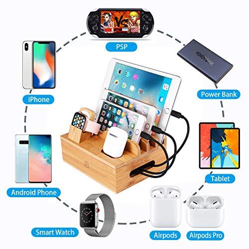 epzoee7in1充電スタンド7台同時充電卓上コードまとめるケーブル収納ボックススマホ充電台(竹木製)