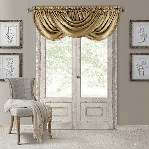 Elrene Home Fashions Versailles Faux Silk Room Darkening & Energy Efficient Lined Rod Pocket Window Curtain Drape Pleated Solid Waterfall Valance, 52' x 36' (1, Gold