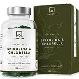 Cápsulas de Espirulina y Chlorella [1800 mg/Dosis Diaria] 200 Comprimidos - Fuente de Vitaminas, Proteínas, Hierro, Fitonutrientes y Calcio - 100% Vegano