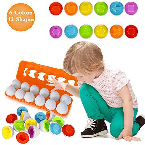 Angusiasm Huevos a Juego con Formas y Colores, reconocimiento de Formas y Colores educativos y Habilidades para clasificar Formas Juguete de Aprendizaje para niños pequeños y niños.