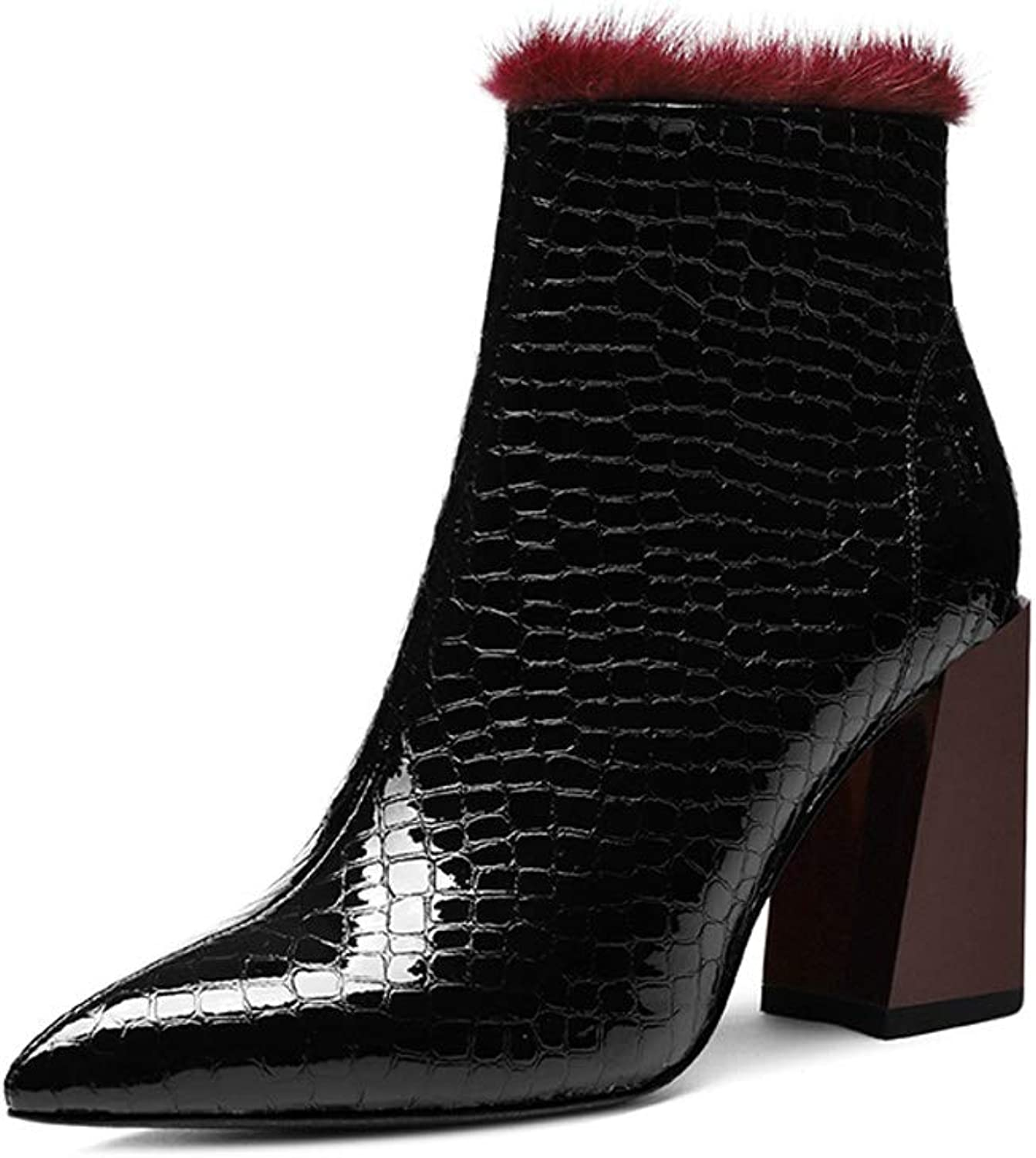 Patent Leather Martin Boots Female 2018 New Bright Leather Short Section Winter Plus Velvet British Wind Thick with High-Heeled Pointed Tide (color   Black, Size   34)
