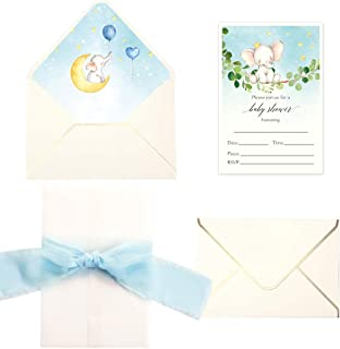 Doris Home 250 GSM 5 x7.3 inch Invitations Cards with Envelopes and Printed Inner Sheets for Baby Shower CW0020 (Cream Elephant, 25pcs)
