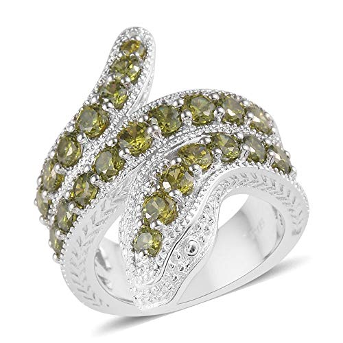 TJC Serpent Ring for Women Size U Simulated Green Cubic Zirconia Animal Jewellery for Her