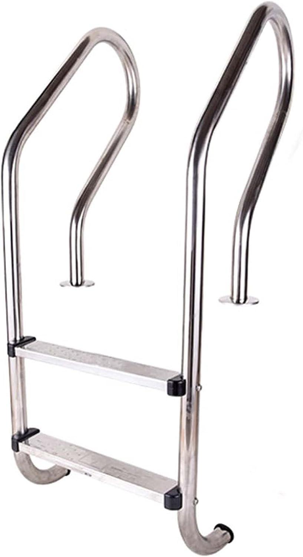 HHXD Escalera Pulida Acero Inoxidable Escalera para Piscina Con Escalones y Pasamanos Antideslizantes/银色 / W54cm*H120cm