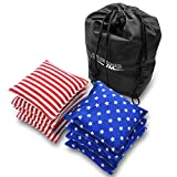 JMEXSUSS Weather Resistant Standard Corn Hole Bags, Set of 8 Regulation Cornhole Bags for Tossing Game (Stars/Stripes)
