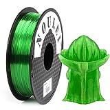 Noulei PETG - Filamento para impresora 3D (1,75 mm, bobina de 0,5 kg), color verde transparente