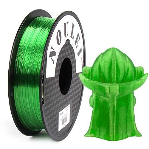 Noulei Filamento PETG para impresora 3D, 1,75 mm, verde transparente, 0,5 kg (verde transparente)