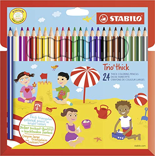 Dreikant-Buntstift - STABILO Trio dick - 24er Pack - mit 24 verschiedenen Farben