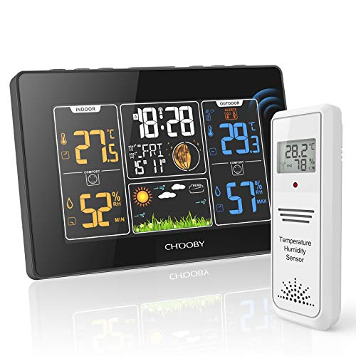CHOOBY Weather Station, Wireless Indoor Outdoor Thermometer with Sensor, Color Large LCD Display, Temperature and Humidity Gauge, Outside Thermometer with Atomic Clock, Alarm for Weather Forecast