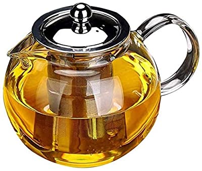 Glass Teapot with Removable Infuser, Glass Teapot Stovetop safe, Clear Teapot with Strainer Lid for Loose Leaf Tea and Blooming Tea (950ML)