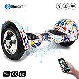 Cool&Fun Hover Board/Skateboard/Gyropode Éléctrique Auto-équilibrage Bluetooth Scooter Trottinette Électrique 10 Pouces,Pneu Gonflable (Graffiti)