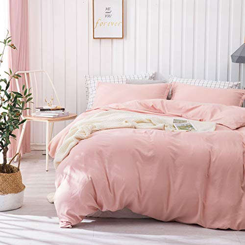 Dreaming Wapiti Duvet Cover Queen, Brushed Microfiber 3pcs Bedding Duvet Cover Set, Soft and Breathable with Zipper Closure & Corner Ties (Blush Pink, Queen)