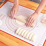 LIMNUO Large Silicone Pastry Mat Extra Thick Non Stick Baking Mat Non Stick Rolling Dough with Measurements-Non Slip,Reusable,Counter Mat, Dough Rolling Mat, Oven Liner, Pie Crust Mat