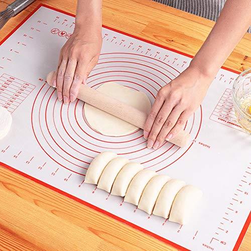 LIMNUO Silicone Pastry Baking Mat Non Stick Large Extra Thick with Measurements Baking Mat,Counter Mat, Dough Rolling Mat,Oven Liner, 20 x 16 Inch