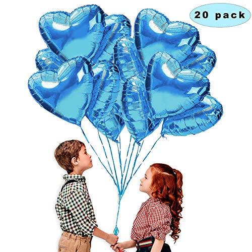 Sunshine smile 20 Stück Herz Folienballon Blau,18 Zoll Helium Luftballons, Folienballon Hochzeit, Herz Ballons Folienluftballon, Heliumballons Herzluftballons für Geburtstag Brautdusche Valentinstag